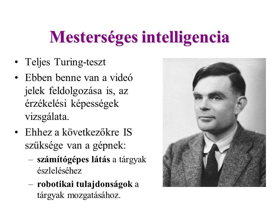 Mesterséges intelligencia Teljes Turing-teszt Ebben benne van a videó jelek feldolgozása is, az érzékelési képességek vizsgálata.