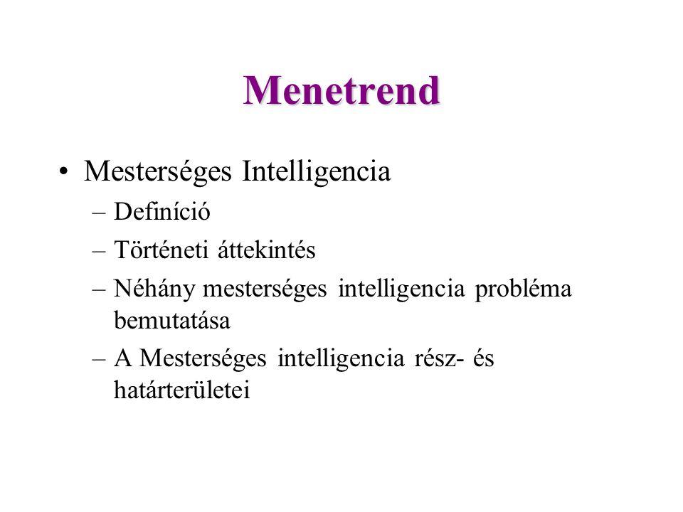 Menetrend Mesterséges Intelligencia –Definíció –Történeti áttekintés –Néhány mesterséges intelligencia probléma bemutatása –A Mesterséges intelligencia rész- és határterületei