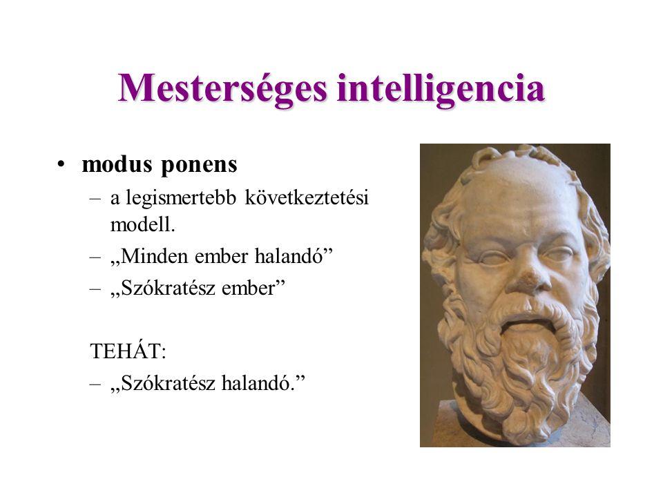Mesterséges intelligencia modus ponens –a legismertebb következtetési modell.