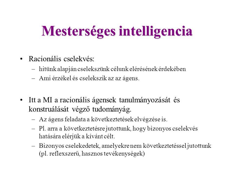 Mesterséges intelligencia Racionális cselekvés: –hitünk alapján cselekszünk célunk elérésének érdekében –Ami érzékel és cselekszik az az ágens.