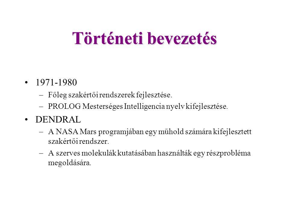 Történeti bevezetés 1971-1980 –Főleg szakértői rendszerek fejlesztése.
