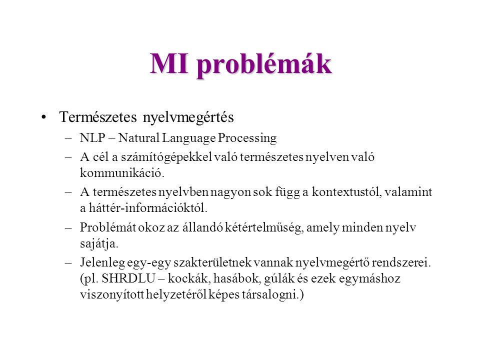 MI problémák Természetes nyelvmegértés –NLP – Natural Language Processing –A cél a számítógépekkel való természetes nyelven való kommunikáció.