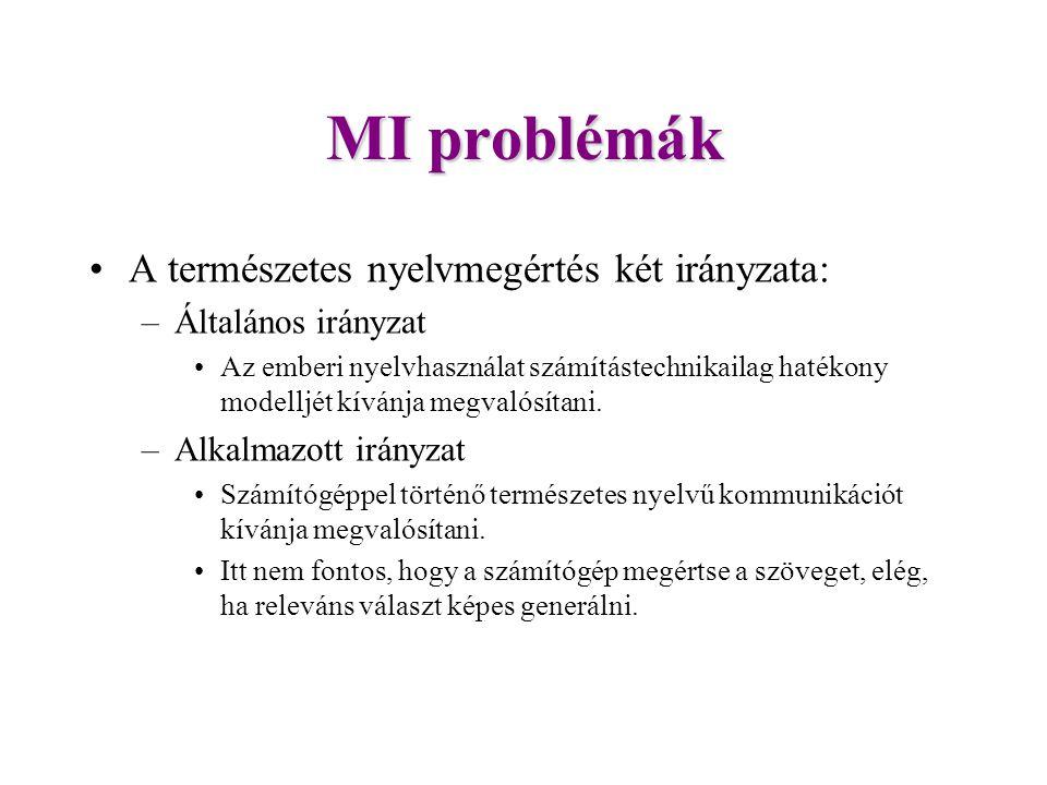 MI problémák A természetes nyelvmegértés két irányzata: –Általános irányzat Az emberi nyelvhasználat számítástechnikailag hatékony modelljét kívánja megvalósítani.