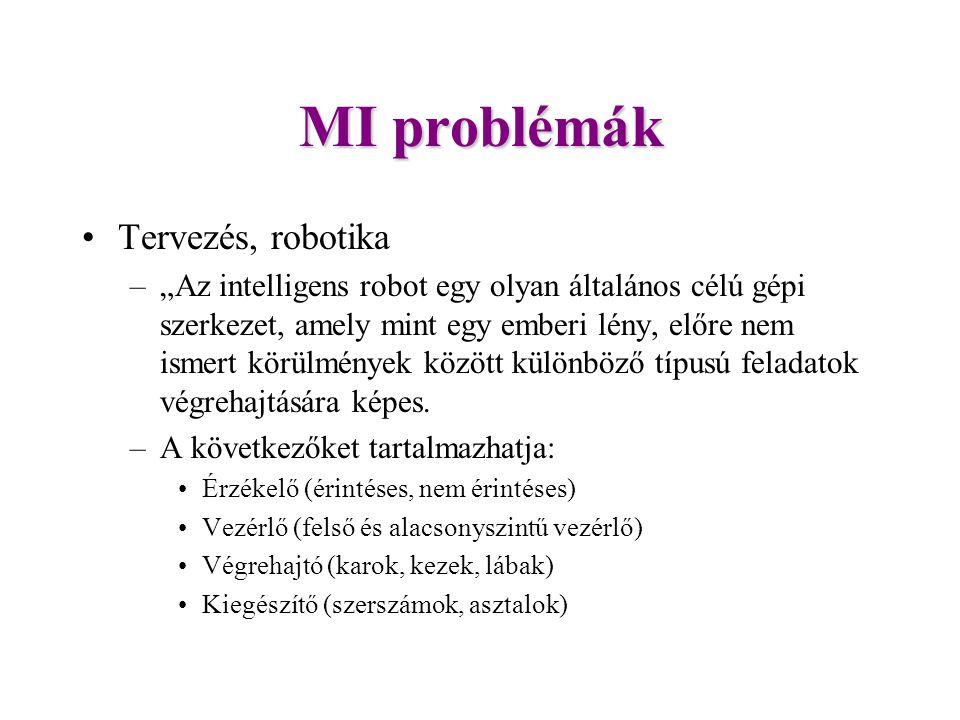 """MI problémák Tervezés, robotika –""""Az intelligens robot egy olyan általános célú gépi szerkezet, amely mint egy emberi lény, előre nem ismert körülmények között különböző típusú feladatok végrehajtására képes."""