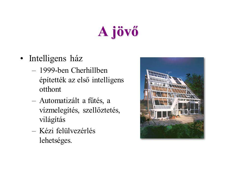 A jövő Intelligens ház –1999-ben Cherhillben építették az első intelligens otthont –Automatizált a fűtés, a vízmelegítés, szellőztetés, világítás –Kézi felülvezérlés lehetséges.
