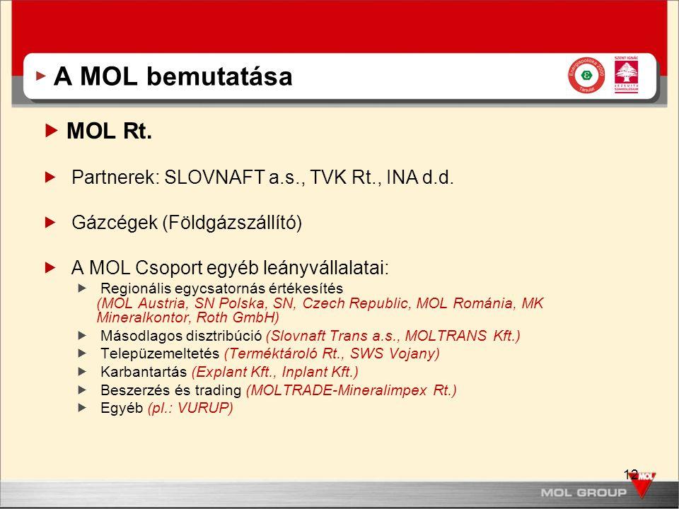 12 A MOL bemutatása  MOL Rt.  Partnerek: SLOVNAFT a.s., TVK Rt., INA d.d.  Gázcégek (Földgázszállító)  A MOL Csoport egyéb leányvállalatai:  Regi