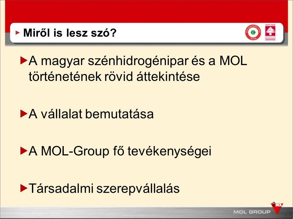 2 Miről is lesz szó?  A magyar szénhidrogénipar és a MOL történetének rövid áttekintése  A vállalat bemutatása  A MOL-Group fő tevékenységei  Társ