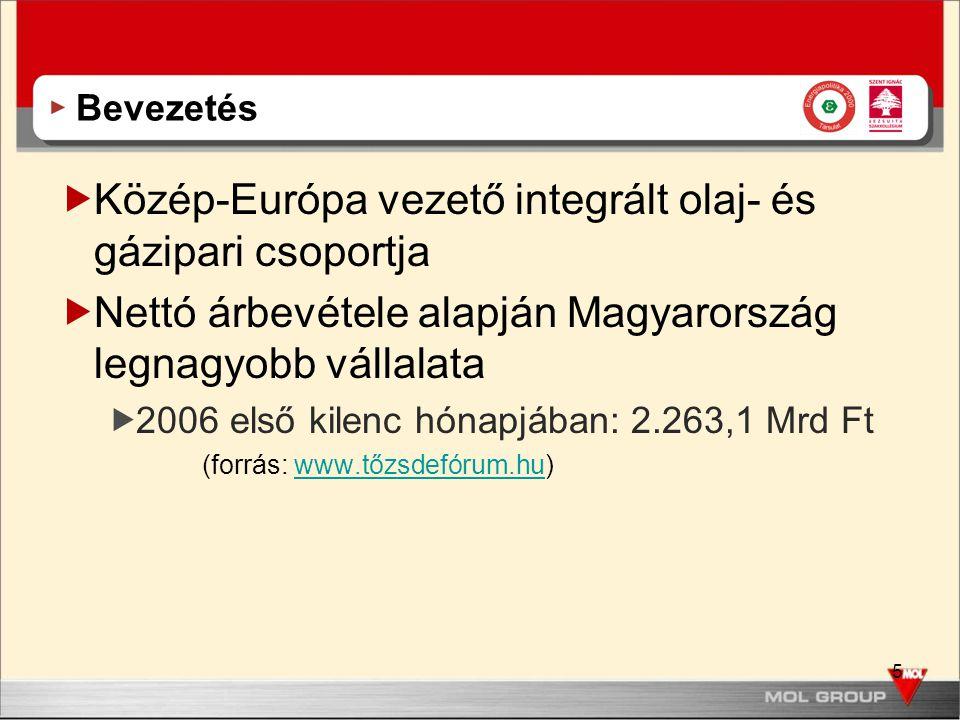 5 Bevezetés  Közép-Európa vezető integrált olaj- és gázipari csoportja  Nettó árbevétele alapján Magyarország legnagyobb vállalata  2006 első kilen