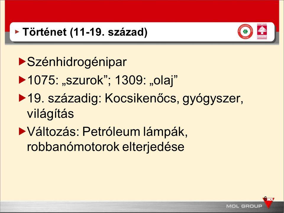 """6 Történet (11-19. század)  Szénhidrogénipar  1075: """"szurok""""; 1309: """"olaj""""  19. századig: Kocsikenőcs, gyógyszer, világítás  Változás: Petróleum l"""