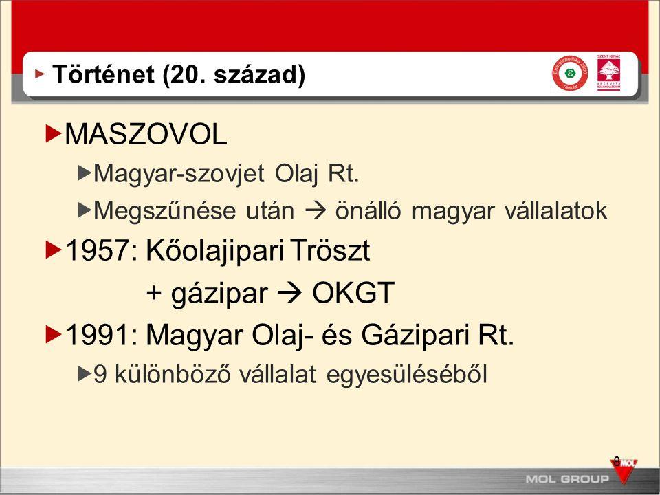 8 Történet (20. század)  MASZOVOL  Magyar-szovjet Olaj Rt.  Megszűnése után  önálló magyar vállalatok  1957: Kőolajipari Tröszt + gázipar  OKGT