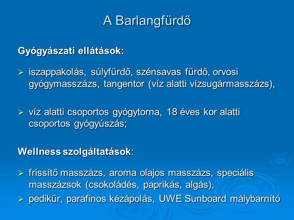 A Barlangfürdő Gyógyászati ellátások:  iszappakolás, súlyfürdő, szénsavas fürdő, orvosi gyógymasszázs, tangentor (víz alatti vízsugármasszázs),  víz