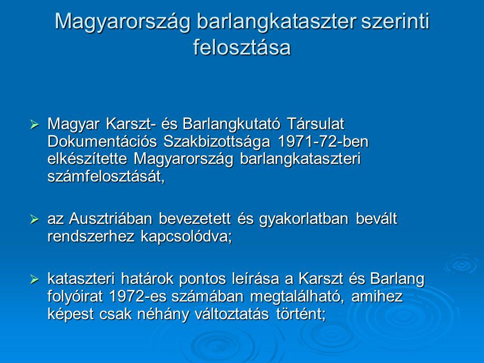 Magyarország barlangkataszter szerinti felosztása  Magyar Karszt- és Barlangkutató Társulat Dokumentációs Szakbizottsága 1971-72-ben elkészítette Mag