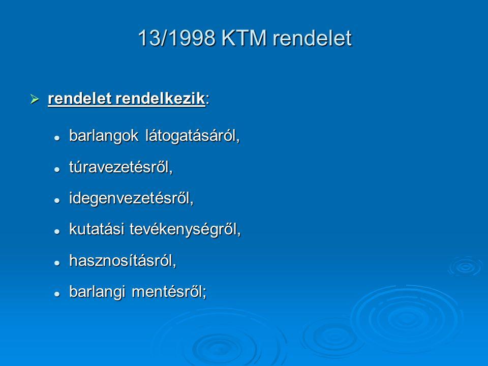 13/1998 KTM rendelet  rendelet rendelkezik: barlangok látogatásáról, barlangok látogatásáról, túravezetésről, túravezetésről, idegenvezetésről, idege