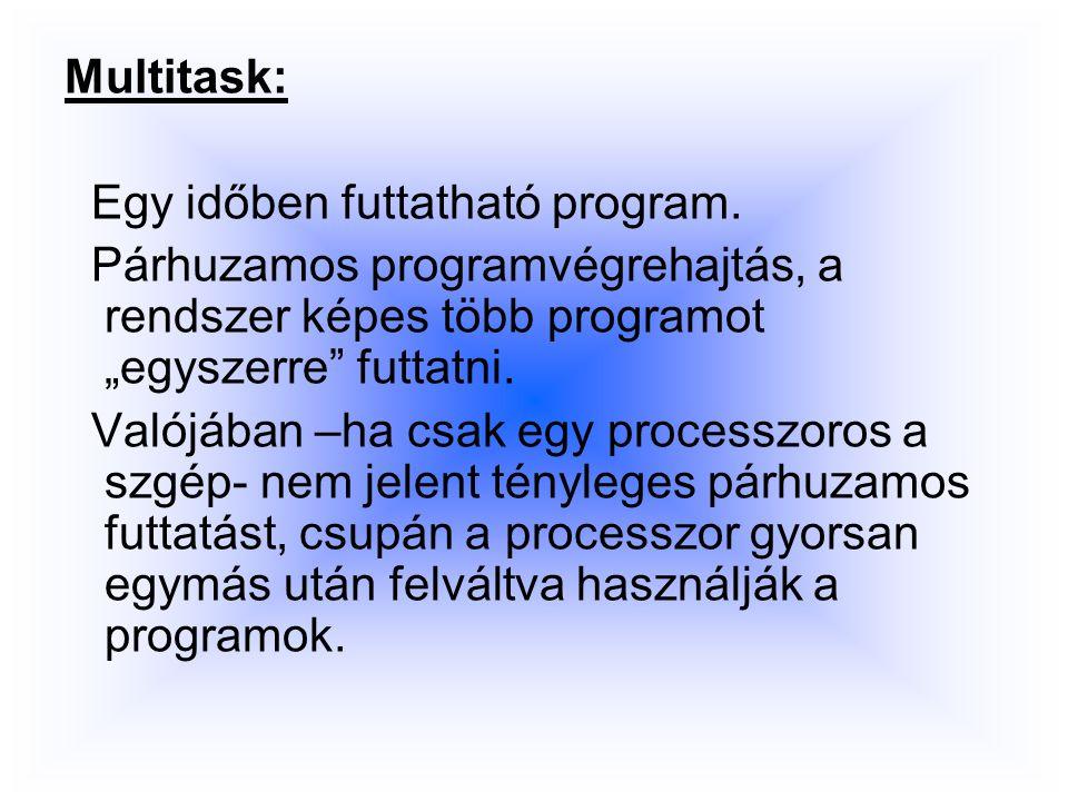 Multitask: Egy időben futtatható program.