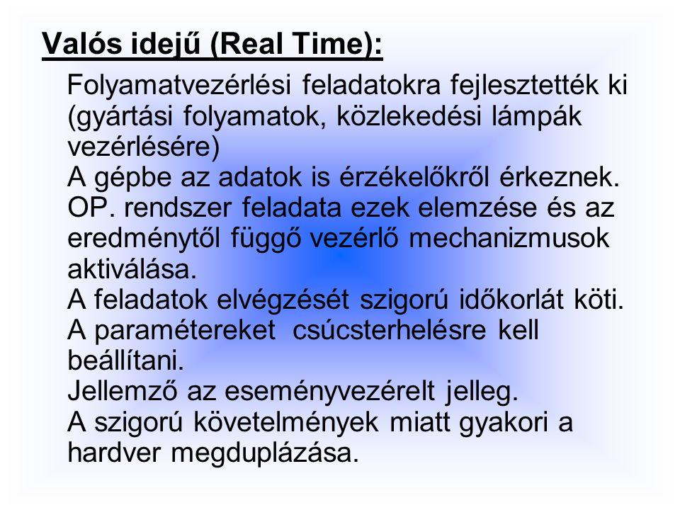 Valós idejű (Real Time): Folyamatvezérlési feladatokra fejlesztették ki (gyártási folyamatok, közlekedési lámpák vezérlésére) A gépbe az adatok is érzékelőkről érkeznek.