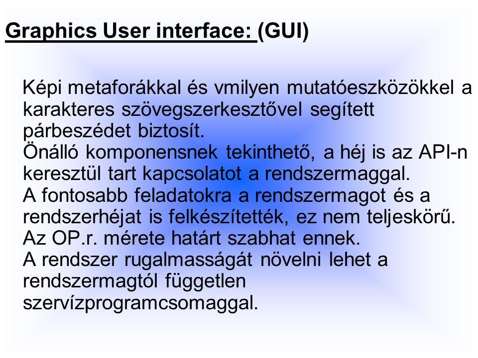 Graphics User interface: (GUI) Képi metaforákkal és vmilyen mutatóeszközökkel a karakteres szövegszerkesztővel segített párbeszédet biztosít.