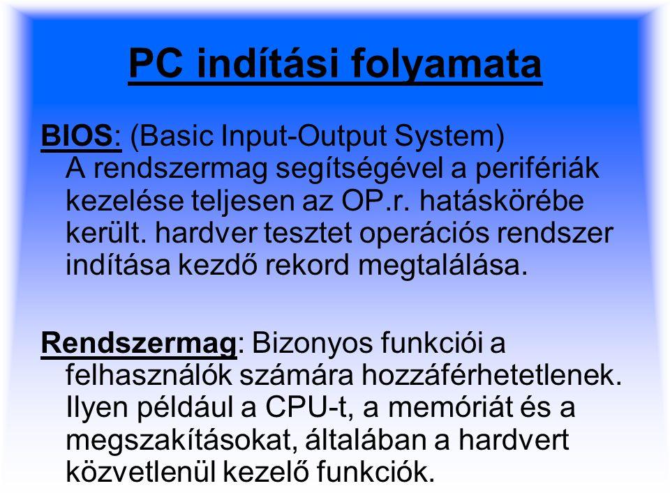 PC indítási folyamata BIOS: (Basic Input-Output System) A rendszermag segítségével a perifériák kezelése teljesen az OP.r.