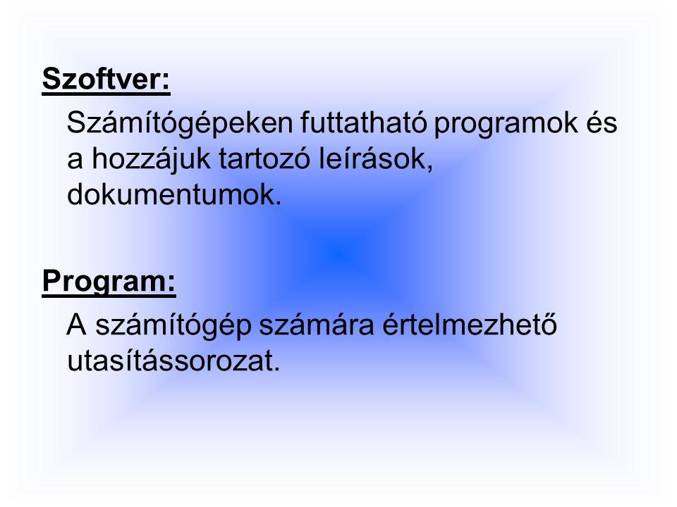 Szoftver: Számítógépeken futtatható programok és a hozzájuk tartozó leírások, dokumentumok.