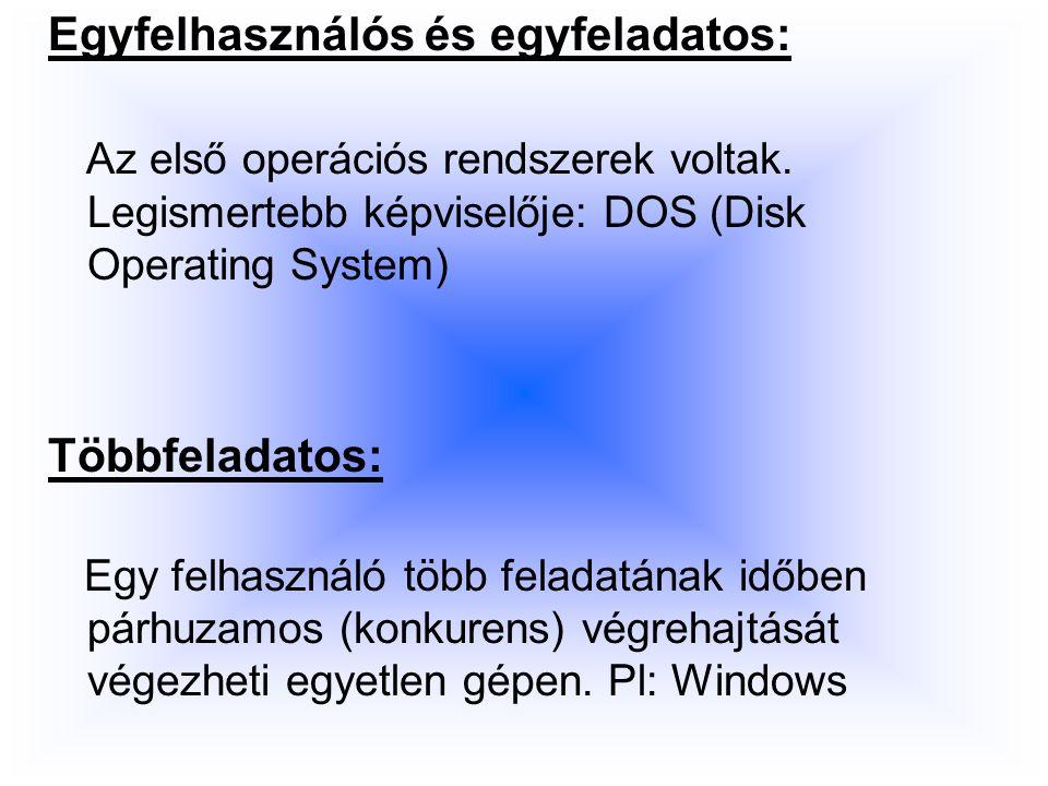 Egyfelhasználós és egyfeladatos: Az első operációs rendszerek voltak.