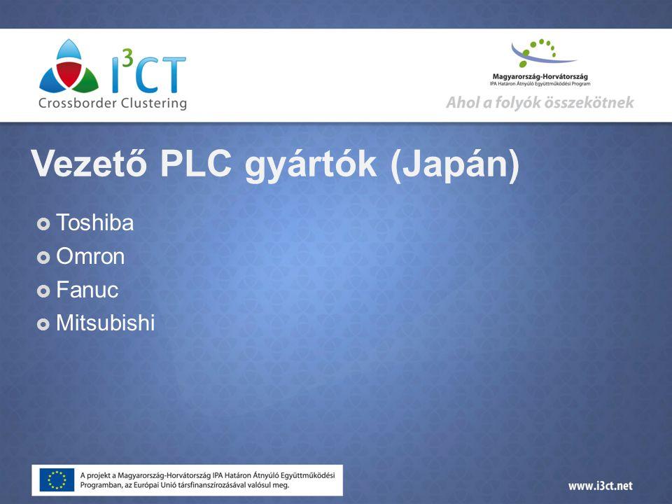 Vezető PLC gyártók (Japán)  Toshiba  Omron  Fanuc  Mitsubishi
