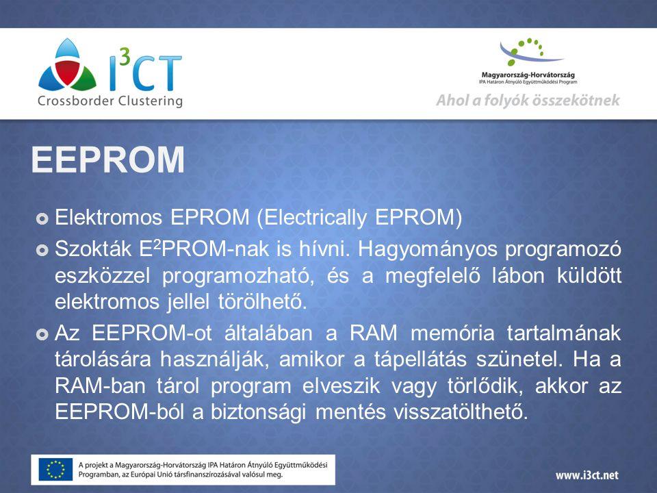 EEPROM  Elektromos EPROM (Electrically EPROM)  Szokták E 2 PROM-nak is hívni.