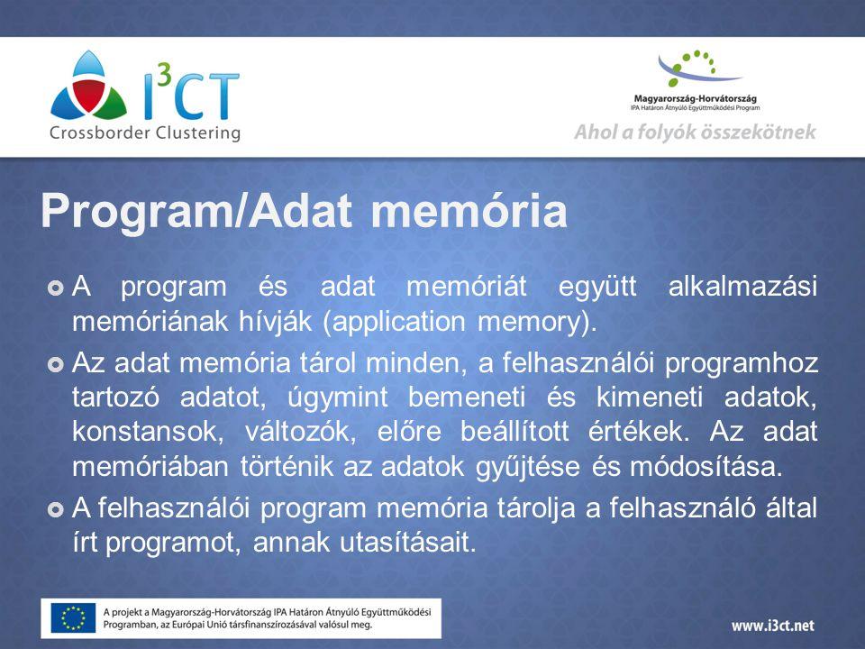 Program/Adat memória  A program és adat memóriát együtt alkalmazási memóriának hívják (application memory).