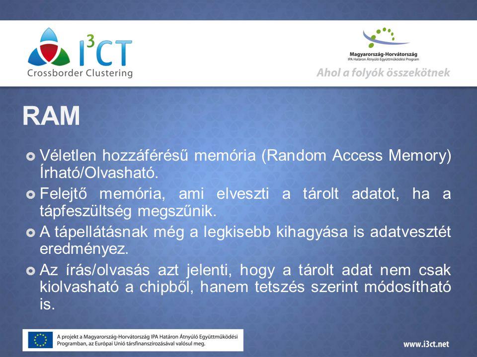 RAM  Véletlen hozzáférésű memória (Random Access Memory) Írható/Olvasható.