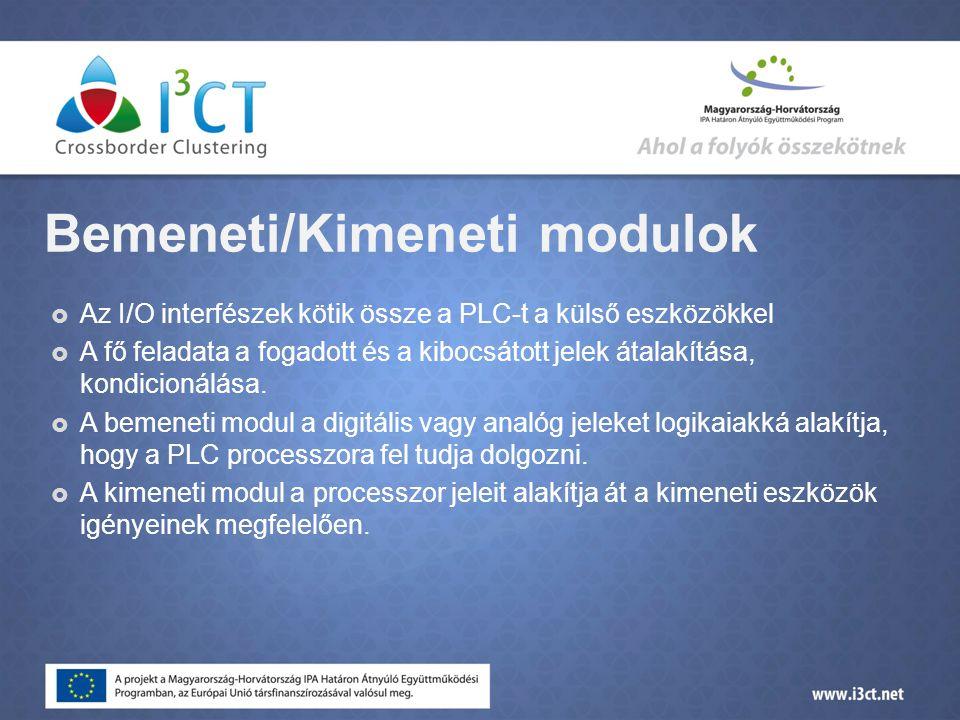 Bemeneti/Kimeneti modulok  Az I/O interfészek kötik össze a PLC-t a külső eszközökkel  A fő feladata a fogadott és a kibocsátott jelek átalakítása, kondicionálása.