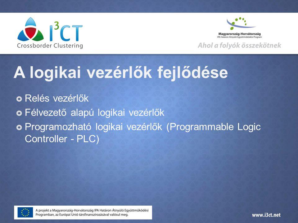 A logikai vezérlők fejlődése  Relés vezérlők  Félvezető alapú logikai vezérlők  Programozható logikai vezérlők (Programmable Logic Controller - PLC)