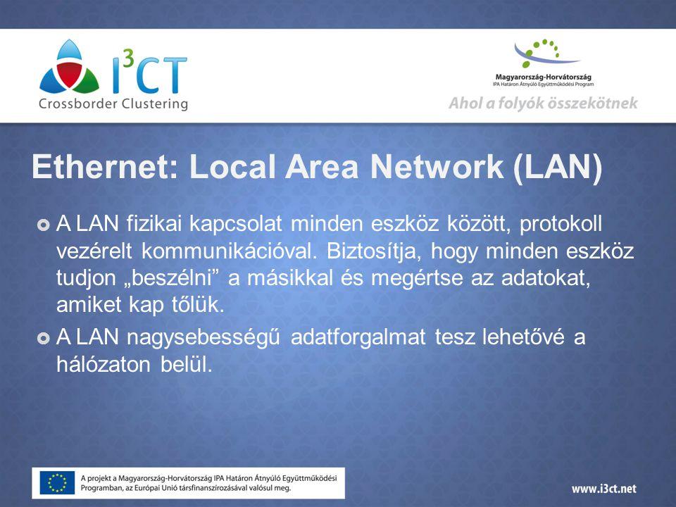 Ethernet: Local Area Network (LAN)  A LAN fizikai kapcsolat minden eszköz között, protokoll vezérelt kommunikációval.