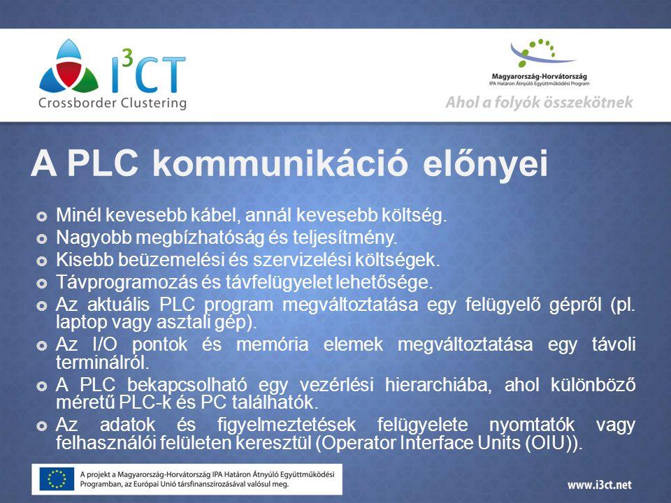 A PLC kommunikáció előnyei  Minél kevesebb kábel, annál kevesebb költség.