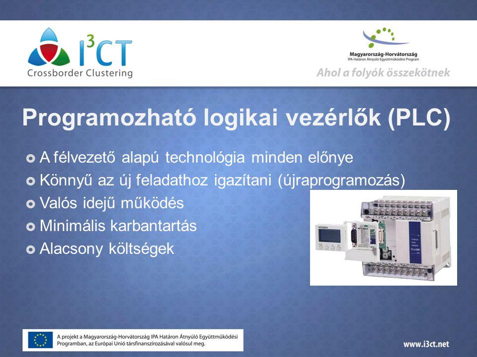 Programozható logikai vezérlők (PLC)  A félvezető alapú technológia minden előnye  Könnyű az új feladathoz igazítani (újraprogramozás)  Valós idejű működés  Minimális karbantartás  Alacsony költségek