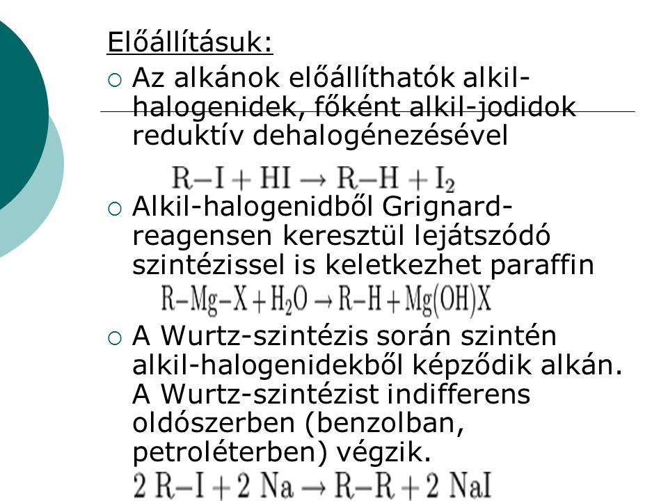 Előállításuk:  Az alkánok előállíthatók alkil- halogenidek, főként alkil-jodidok reduktív dehalogénezésével  Alkil-halogenidből Grignard- reagensen