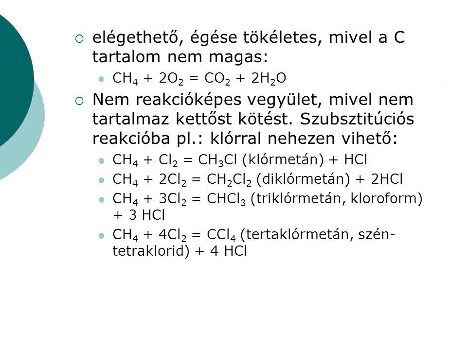  elégethető, égése tökéletes, mivel a C tartalom nem magas: CH 4 + 2O 2 = CO 2 + 2H 2 O  Nem reakcióképes vegyület, mivel nem tartalmaz kettőst köté