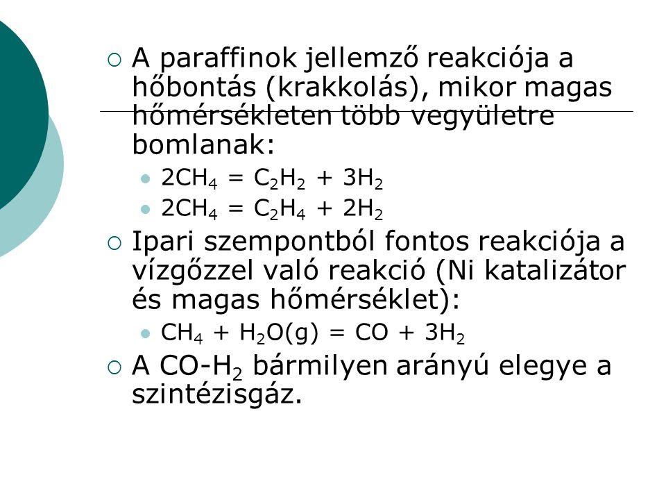  A paraffinok jellemző reakciója a hőbontás (krakkolás), mikor magas hőmérsékleten több vegyületre bomlanak: 2CH 4 = C 2 H 2 + 3H 2 2CH 4 = C 2 H 4 +
