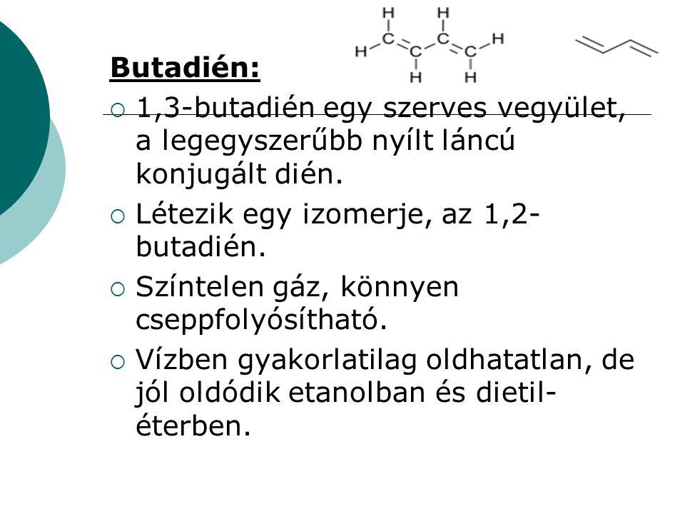 Butadién:  1,3-butadién egy szerves vegyület, a legegyszerűbb nyílt láncú konjugált dién.  Létezik egy izomerje, az 1,2- butadién.  Színtelen gáz,