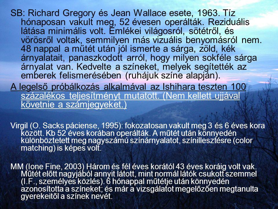 SB: Richard Gregory és Jean Wallace esete, 1963. Tíz hónaposan vakult meg, 52 évesen operálták. Reziduális látása minimális volt. Emlékei világosról,