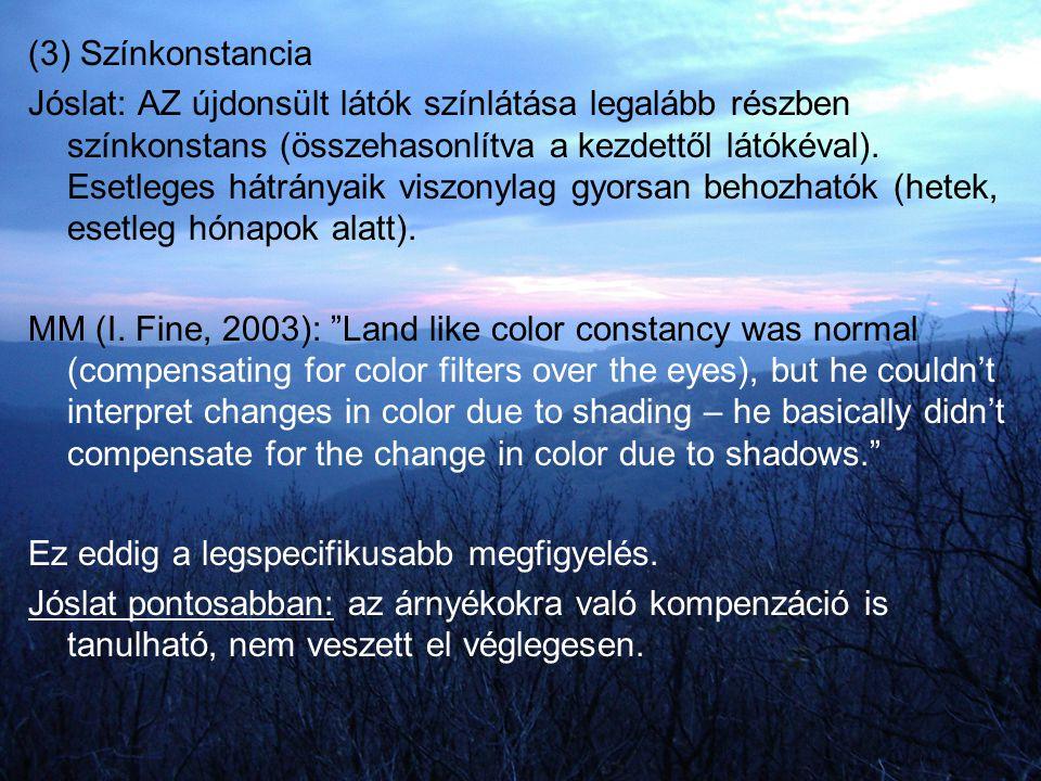 (3) Színkonstancia Jóslat: AZ újdonsült látók színlátása legalább részben színkonstans (összehasonlítva a kezdettől látókéval). Esetleges hátrányaik v