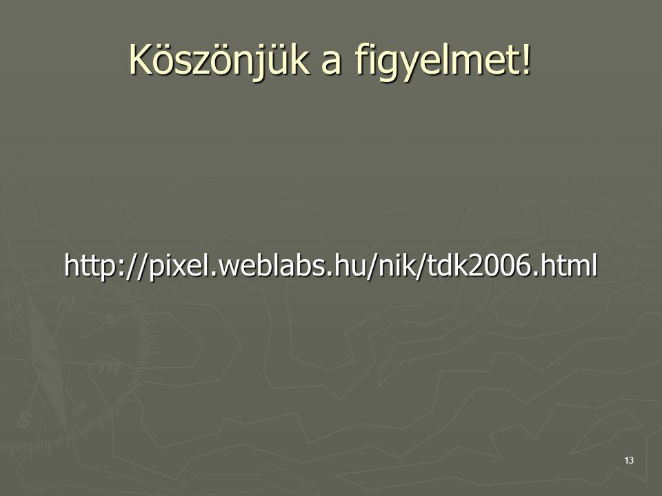 13 Köszönjük a figyelmet! http://pixel.weblabs.hu/nik/tdk2006.html