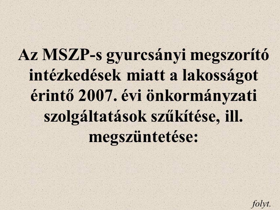 Az MSZP-s gyurcsányi megszorító intézkedések miatt a lakosságot érintő 2007.