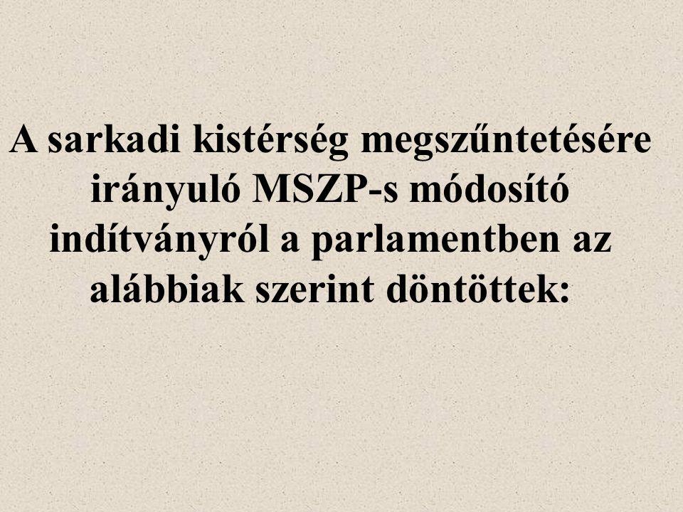 A sarkadi kistérség megszűntetésére irányuló MSZP-s módosító indítványról a parlamentben az alábbiak szerint döntöttek: