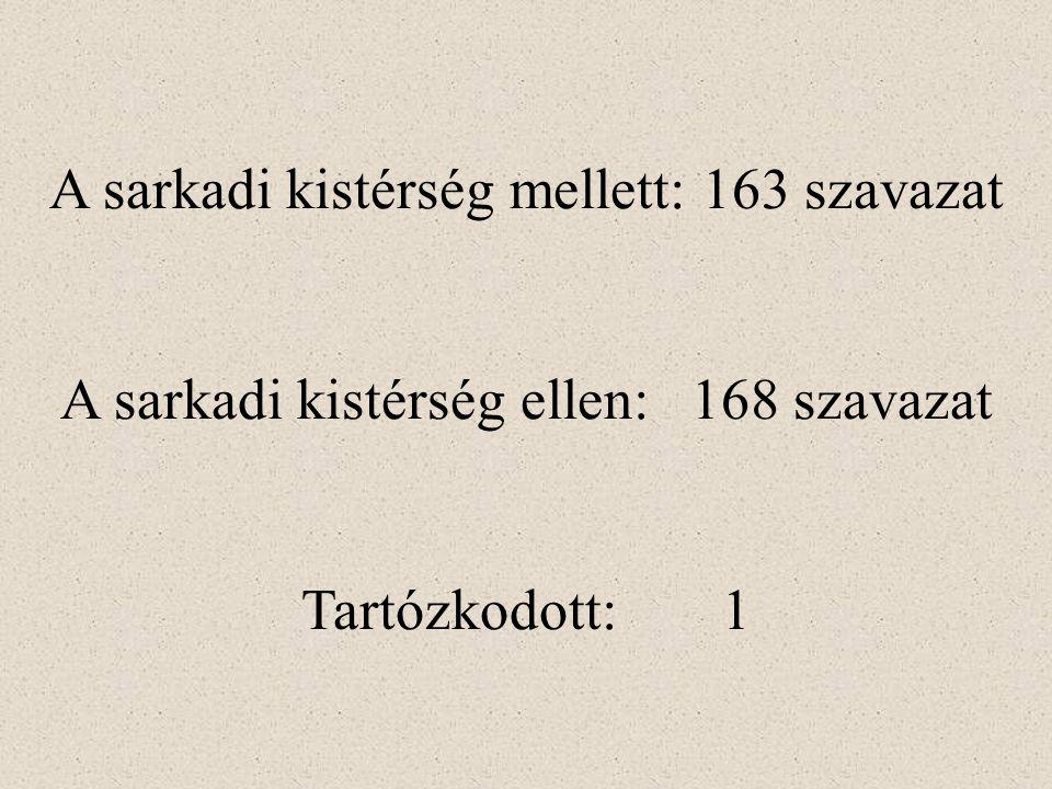 A sarkadi kistérség mellett: 163 szavazat A sarkadi kistérség ellen:168 szavazat Tartózkodott: 1