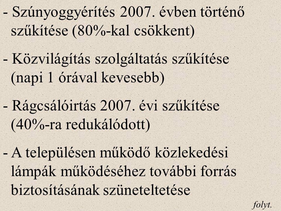 - Hulladékkezelési közszolgáltatás lakos- sági térítésmentességének megszüntetése - A településen működő közkifolyók darabszámának csökkentése (eddig 42 db, további 40 várható) - A Polgármesteri Hivatal minőség- irányítási rendszerének megszűntetése - A Bartók Béla Művelődési Központ és Könyvtár nyitva tartásának szűkítése