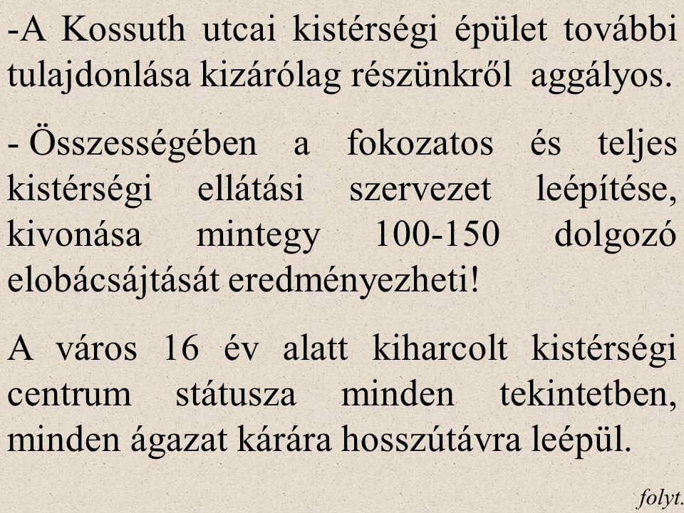 -A Kossuth utcai kistérségi épület további tulajdonlása kizárólag részünkről aggályos.