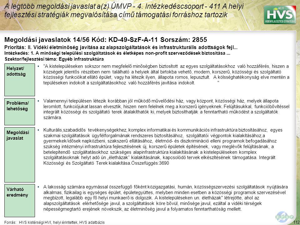 112 Forrás:HVS kistérségi HVI, helyi érintettek, HVS adatbázis Megoldási javaslatok 14/56 Kód: KD-49-SzF-A-11 Sorszám: 2855 A legtöbb megoldási javaslat a(z) ÚMVP - 4.