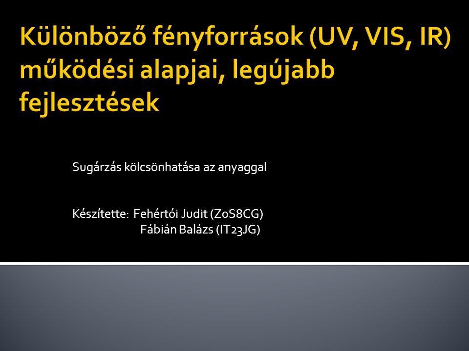 Sugárzás kölcsönhatása az anyaggal Készítette: Fehértói Judit (Z0S8CG) Fábián Balázs (IT23JG)