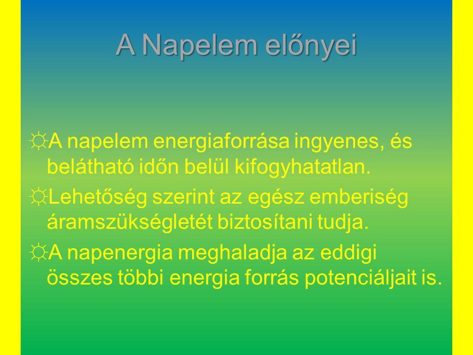 A Napelem előnyei ☼A napelem energiaforrása ingyenes, és belátható időn belül kifogyhatatlan. ☼Lehetőség szerint az egész emberiség áramszükségletét b