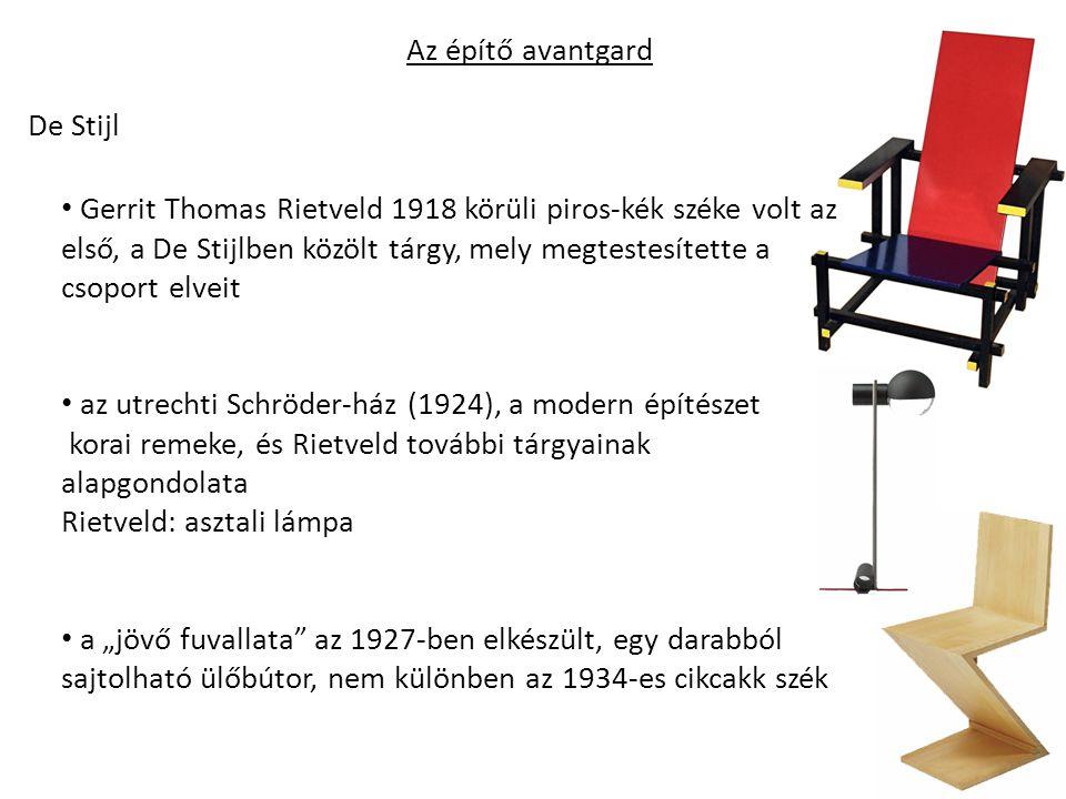 """Az építő avantgard De Stijl Gerrit Thomas Rietveld 1918 körüli piros-kék széke volt az első, a De Stijlben közölt tárgy, mely megtestesítette a csoport elveit az utrechti Schröder-ház (1924), a modern építészet korai remeke, és Rietveld további tárgyainak alapgondolata Rietveld: asztali lámpa a """"jövő fuvallata az 1927-ben elkészült, egy darabból sajtolható ülőbútor, nem különben az 1934-es cikcakk szék"""