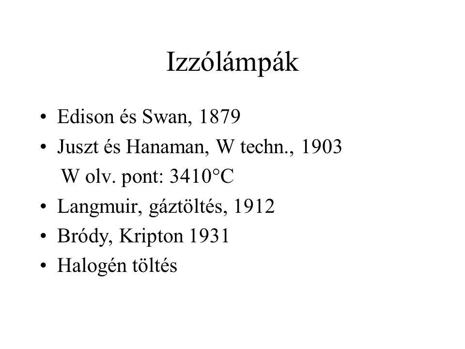 Izzólámpák Edison és Swan, 1879 Juszt és Hanaman, W techn., 1903 W olv. pont: 3410°C Langmuir, gáztöltés, 1912 Bródy, Kripton 1931 Halogén töltés