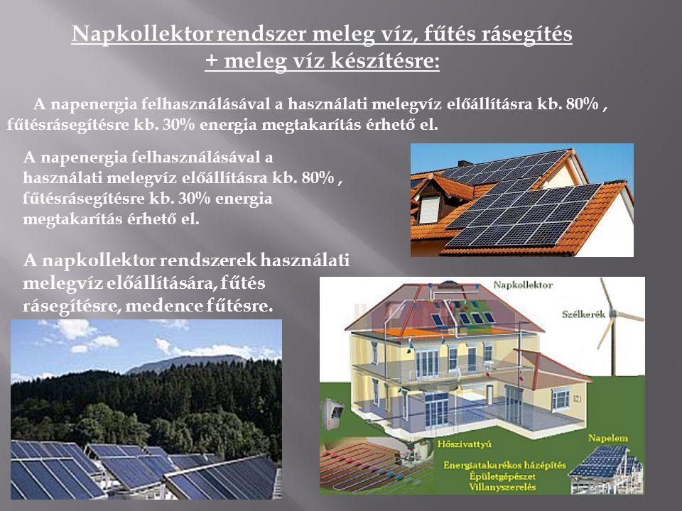 Napkollektor rendszer meleg víz, fűtés rásegítés + meleg víz készítésre: A napenergia felhasználásával a használati melegvíz előállításra kb. 80%, fűt